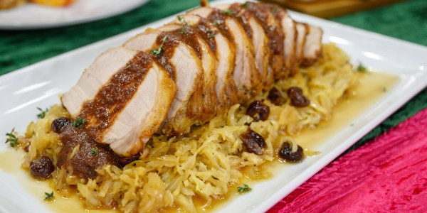 Lidia Bastianich's Roasted Pork Loin with Cabbage and Dried Cherry Sauce