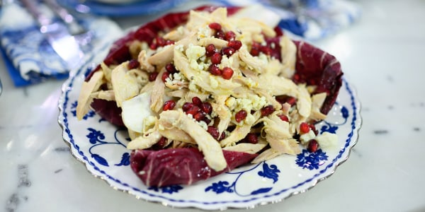 Chicken Salad with Blue Cheese, Radicchio and Pomegranate