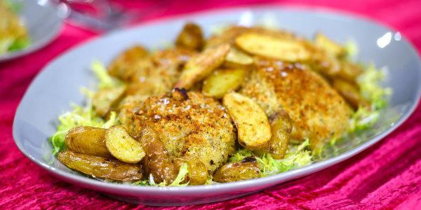Ina Garten's Crispy Mustard Chicken and Frisee