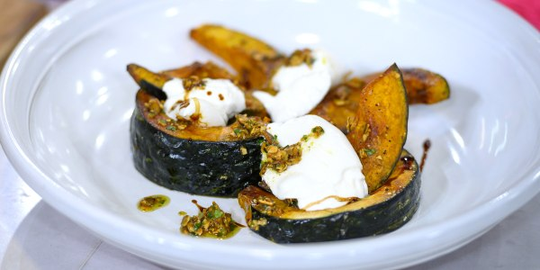 Roasted Squash and Burrata Salad with Pumpkin Seed Salsa Verde