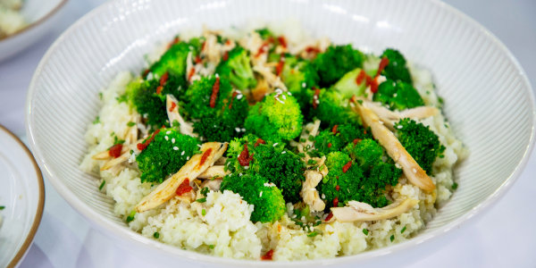 Coconut Cauliflower Rice with Coconut Chicken and Broccoli