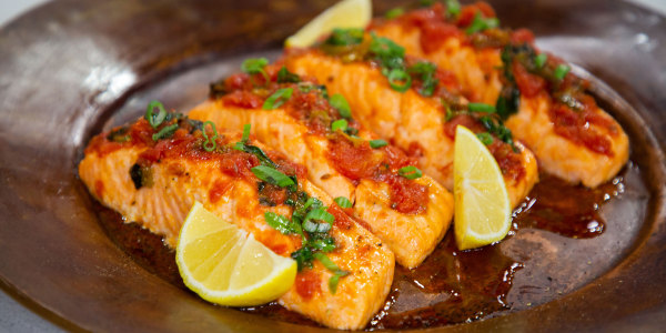 Salmon Braised in Tomato Sauce (Salmon Chraimeh)
