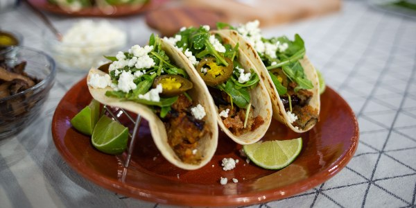 Bobby Flay's Eggplant Tacos with Goat Cheese and Hot Sauce