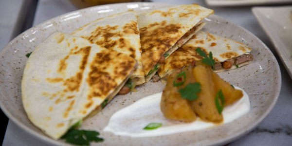 Pork Tenderloin Quesadilla with Roasted Apple Chutney