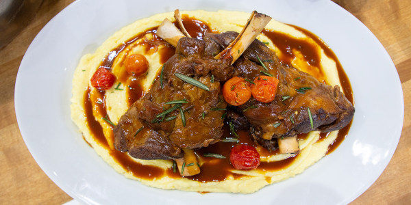 Braised Lamb Shank 'Osso Buco' with Caprino Polenta