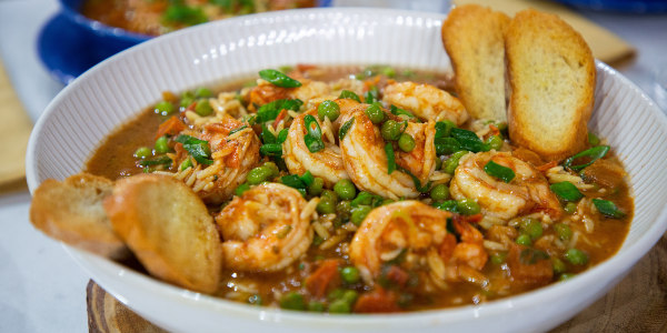 Orzo Pasta with Shrimp and Peas