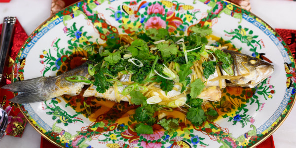 Whole Steamed Fish with Ginger and Scallion