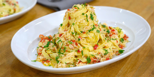 Curtis Stone's Tagliatelle with King Crab, Chiles and Parsley
