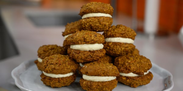 Carrot Cake Cookie Sandwiches with Cream Cheese Frosting