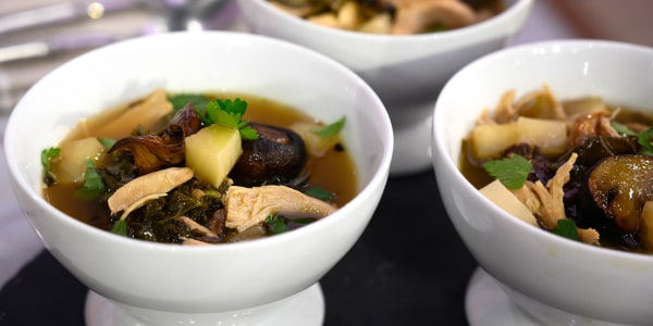 Chicken Soup with Mushrooms, Kale and Turnips
