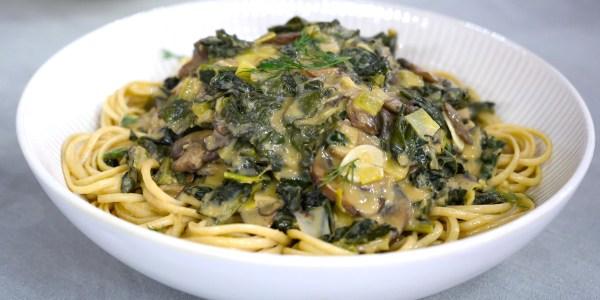 Mustardy Mushroom and Kale Stroganoff