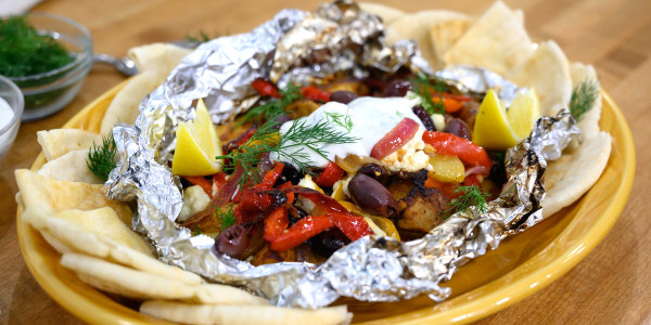 Greek Chicken, Pepper and Potato Foil-Packets