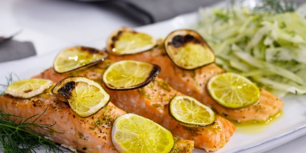 Roasted Salmon with Lime and Fennel