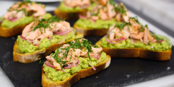 Salmon Crostini with Avocado and Mint