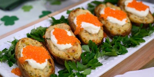 Salt-Baked Potato with Crème Fraîche and Trout Caviar