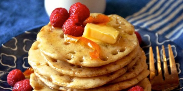 Moroccan-Style Pancakes with Orange-Honey Syrup