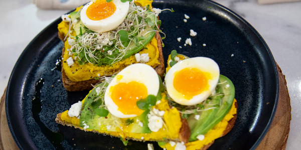 Golden Hummus Avocado Toast
