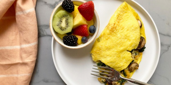 Veggie Omelet with Cheese, Spinach and Cauliflower