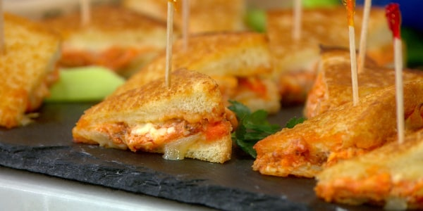 Mini Spicy Buffalo Chicken Grilled Cheese Sandwiches