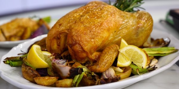 Roast Chicken with Fava Bean and English Pea Salad