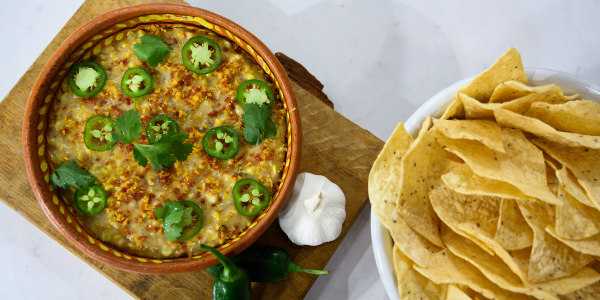 Sweet Corn Queso with Pepperoni 'Crumbs'