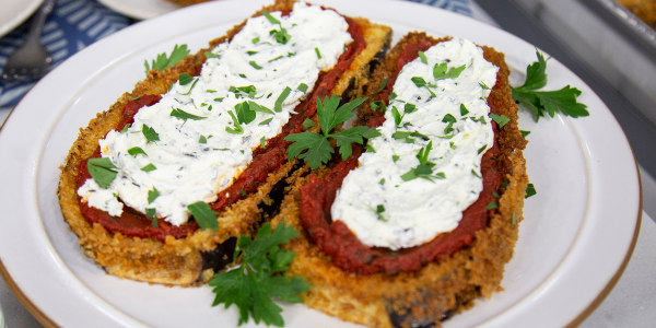 Fried Eggplant with Caramelized Tomato and Goat Cheese