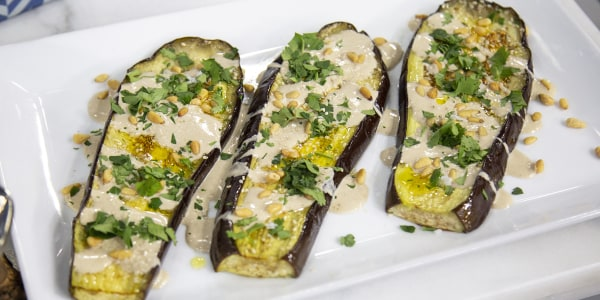 Roasted Eggplant with Tahini and Pine Nuts