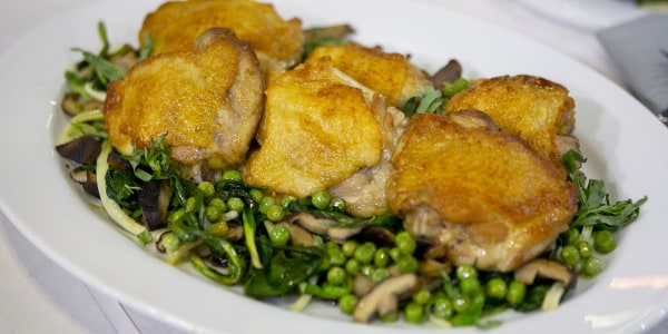 Chicken Thighs with Ramps, Peas and Mushrooms