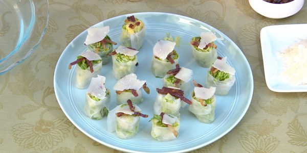 Mini Caesar Salad Spring Rolls