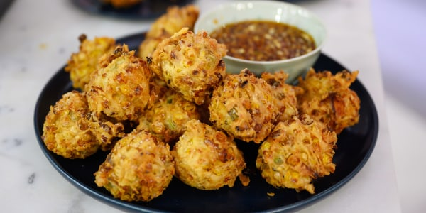 Chicken Adobo Corn Fritters