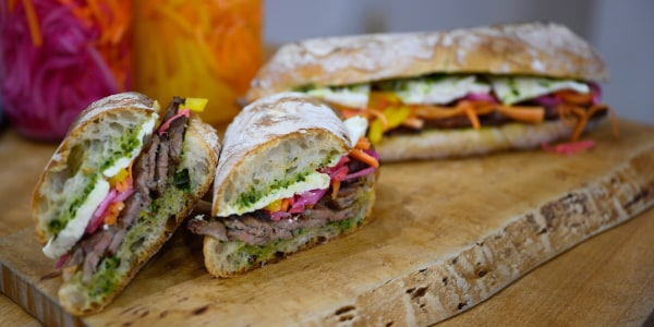 Steak Sandwich with Quick Pickled Veggies and Feta Cheese