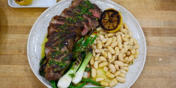 Grilled Strip Steak with Cannellini Beans and Pesto