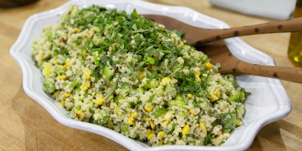 Quinoa Salad with Snap Peas, Charred Corn and Asparagus