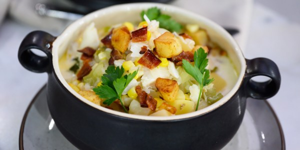 Cod Chowder with Crispy Potatoes and Applewood Bacon