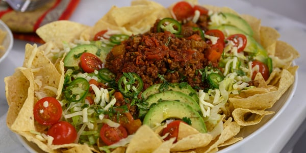 Beef and Tomato Taco Salad with Avocado and Lime