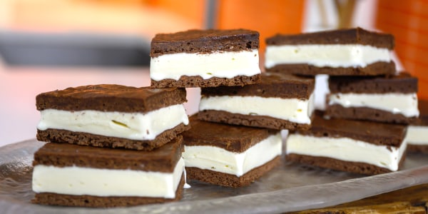 Chewy Brownie Ice Cream Sandwiches