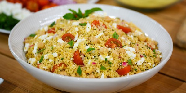 No-Cook Couscous Salad with Chickpeas and Feta