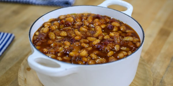 Katie Lee's Peach-Bourbon Bacon Baked Beans