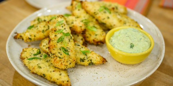 Herby Parmesan Chicken Tenders with Ranch Dipping Sauce
