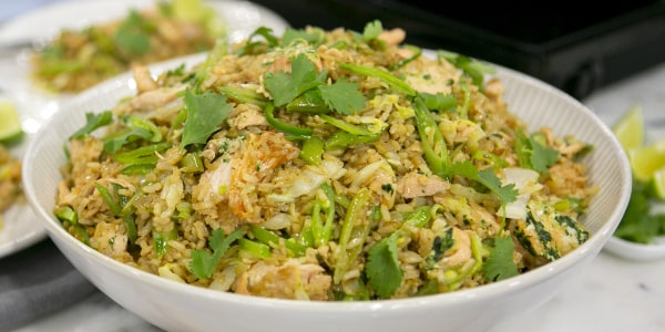 Salmon Fried Rice with Lots of Vegetables