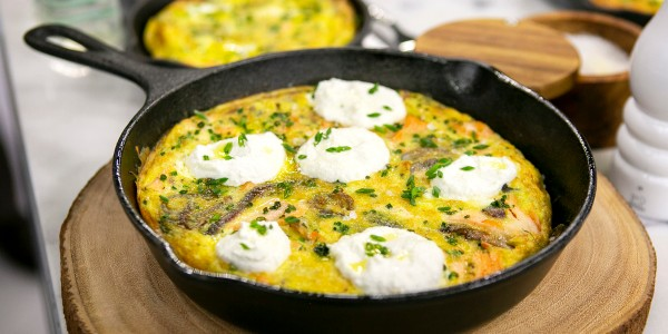 Slow-Baked Salmon Frittata with Ricotta and Onions