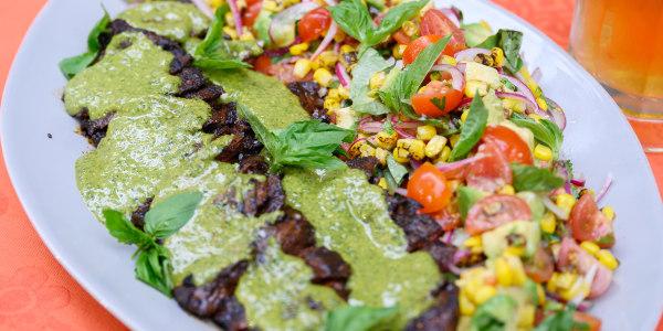 Bobby Flay's Skirt Steak with Jalapeño Pesto and Corn Salad