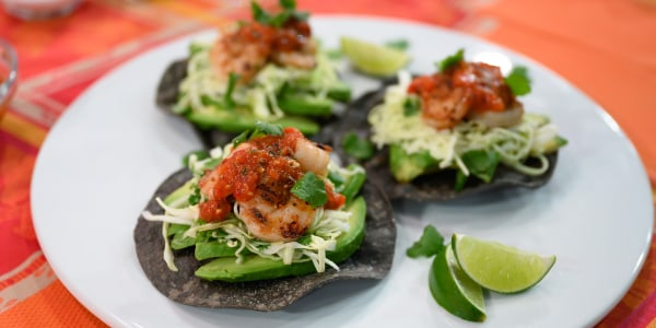 Bobby Flay's Blue Corn Tostadas with Shrimp, Salsa and Slaw