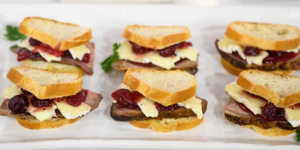 Roast Beef and Brie Sliders with Cranberry and Horseradish