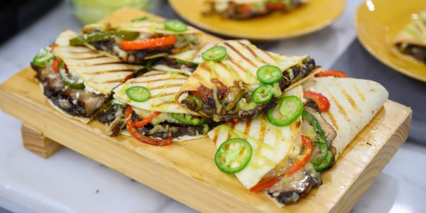 Grilled Pork Quesadillas with Peppers and Onions