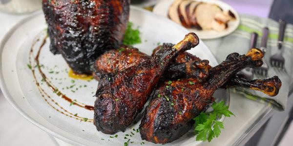 Pomegranate Molasses Turkey Breast And Drumsticks
