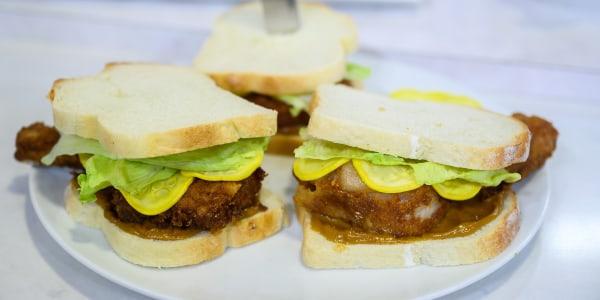 Fried Pork Chops with Squash Pickles and Espresso Aioli