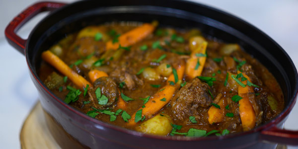 Pinot-Braised Beef Stew with Baby Potatoes and Pearl Onions