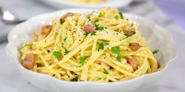 Spaghetti Carbonara with Ham