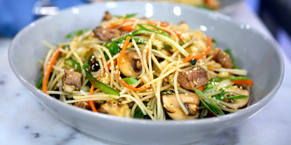 Korean Noodles with Mixed Vegetables and Beef
